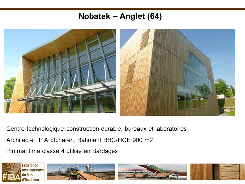 Nobatek – Anglet (64) Centre technologique construction durable, bureaux et laboratoires. Architecte : P Arotcharen, Batiment BBC/HQE 900 m2.