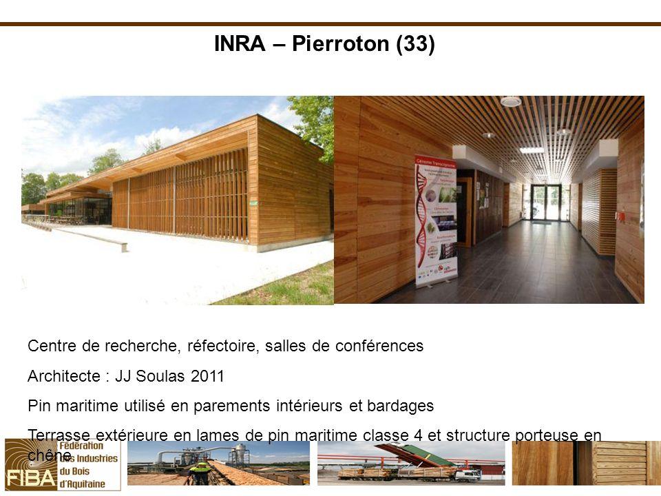 INRA – Pierroton (33)Centre de recherche, réfectoire, salles de conférences. Architecte : JJ Soulas 2011.