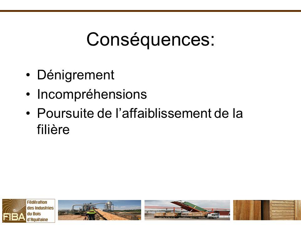 Conséquences: Dénigrement Incompréhensions
