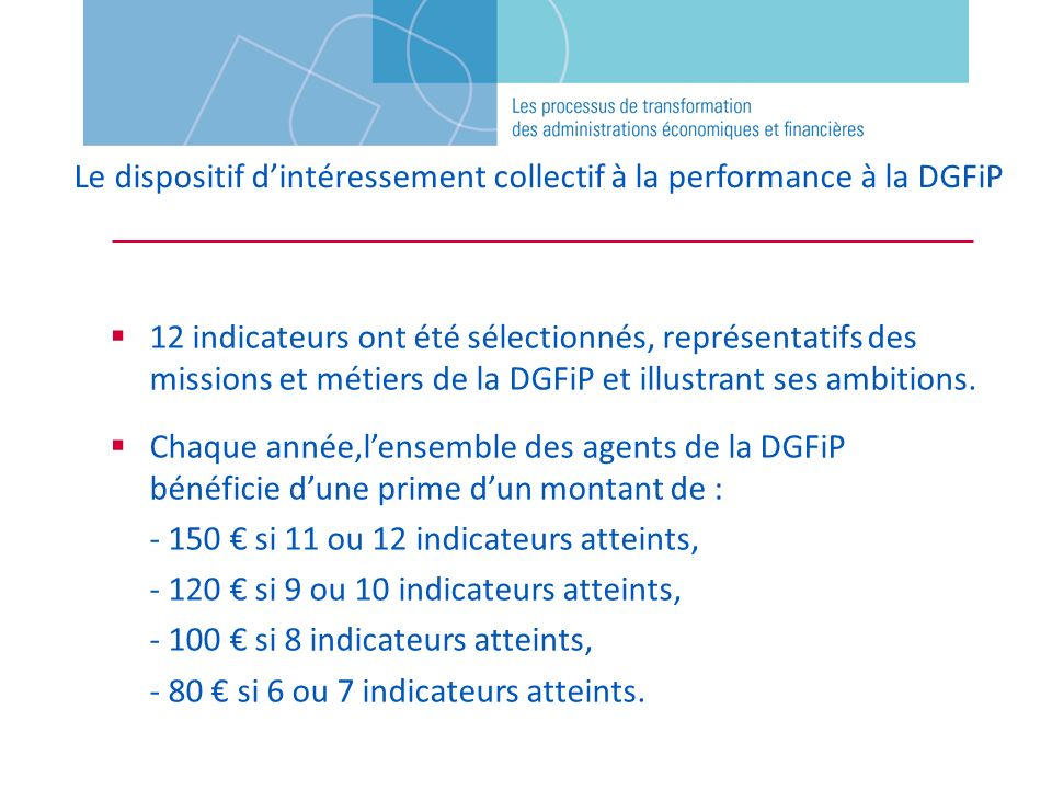 Le dispositif d'intéressement collectif à la performance à la DGFiP