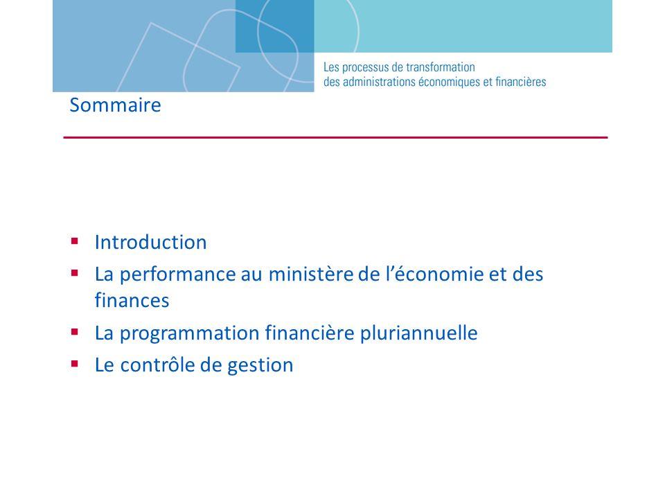 Sommaire Introduction. La performance au ministère de l'économie et des finances. La programmation financière pluriannuelle.
