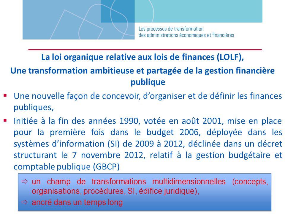 La loi organique relative aux lois de finances (LOLF),
