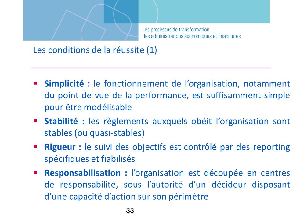 Les conditions de la réussite (1)