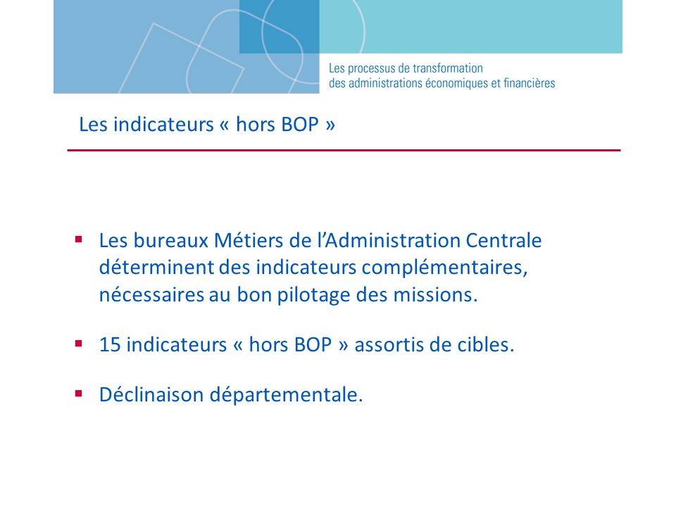 Les indicateurs « hors BOP »