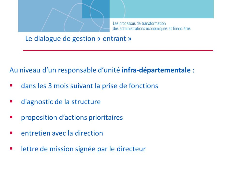 Le dialogue de gestion « entrant »