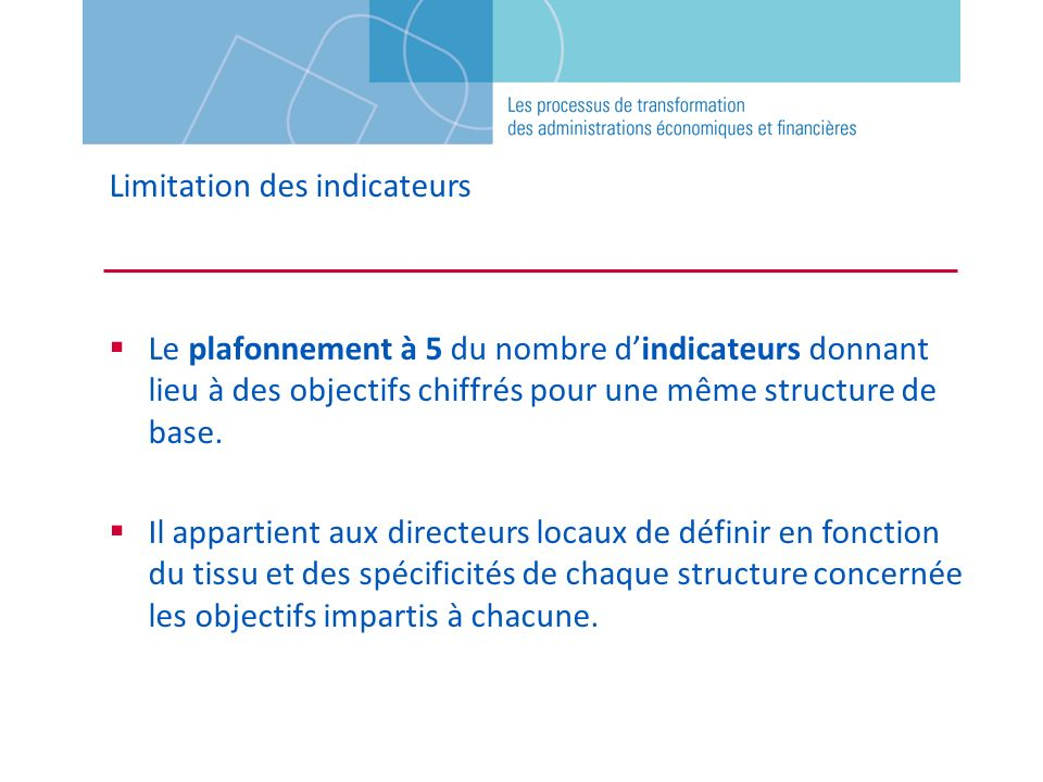 Limitation des indicateurs