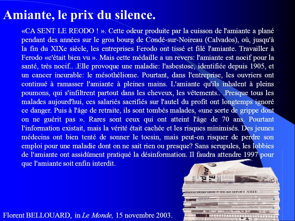 Amiante, le prix du silence.