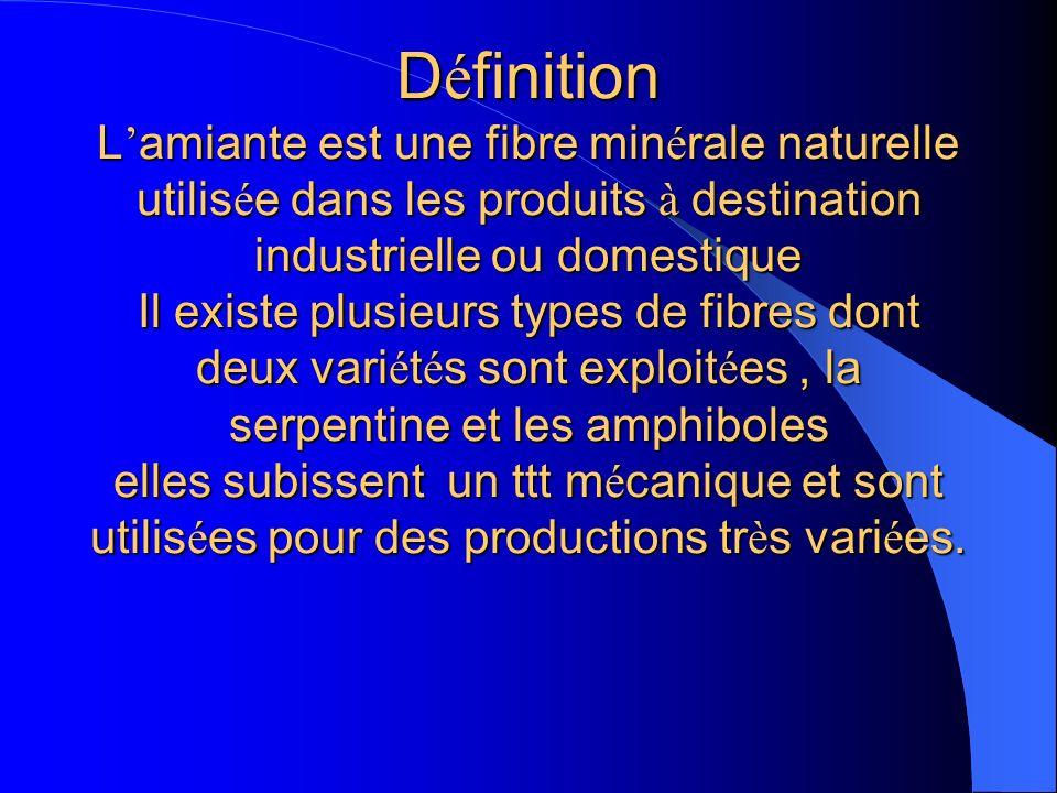 Définition L'amiante est une fibre minérale naturelle utilisée dans les produits à destination industrielle ou domestique Il existe plusieurs types de fibres dont deux variétés sont exploitées , la serpentine et les amphiboles elles subissent un ttt mécanique et sont utilisées pour des productions très variées.