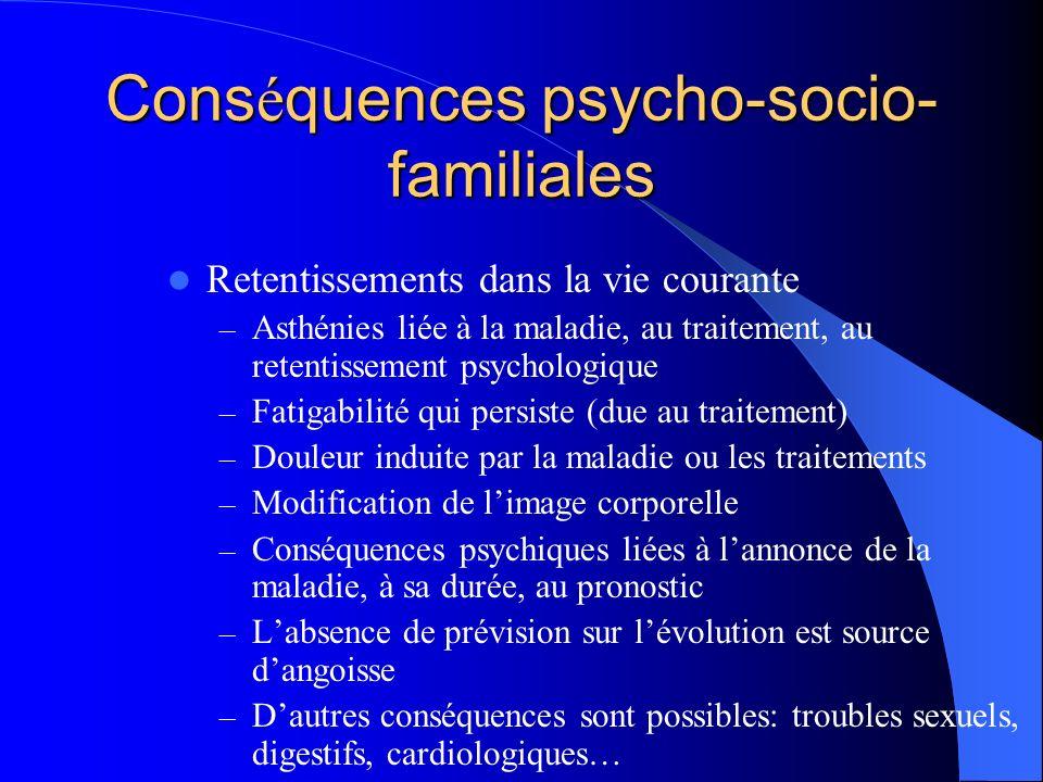 Conséquences psycho-socio- familiales