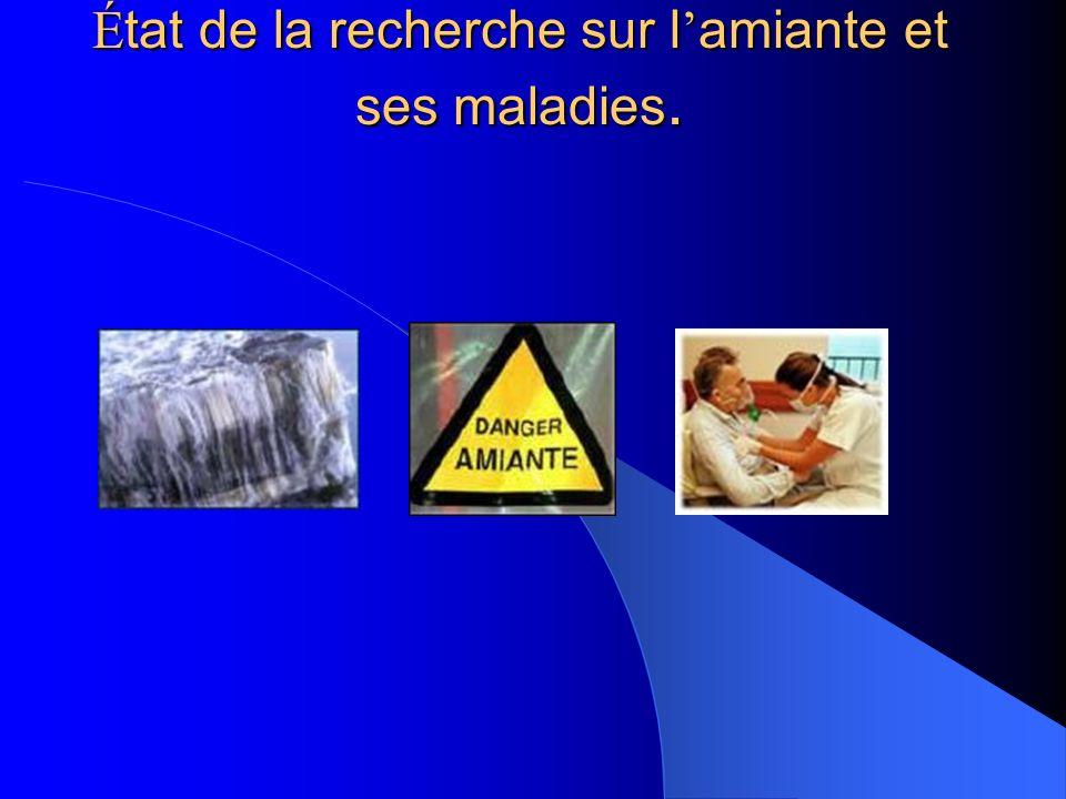 État de la recherche sur l'amiante et ses maladies.