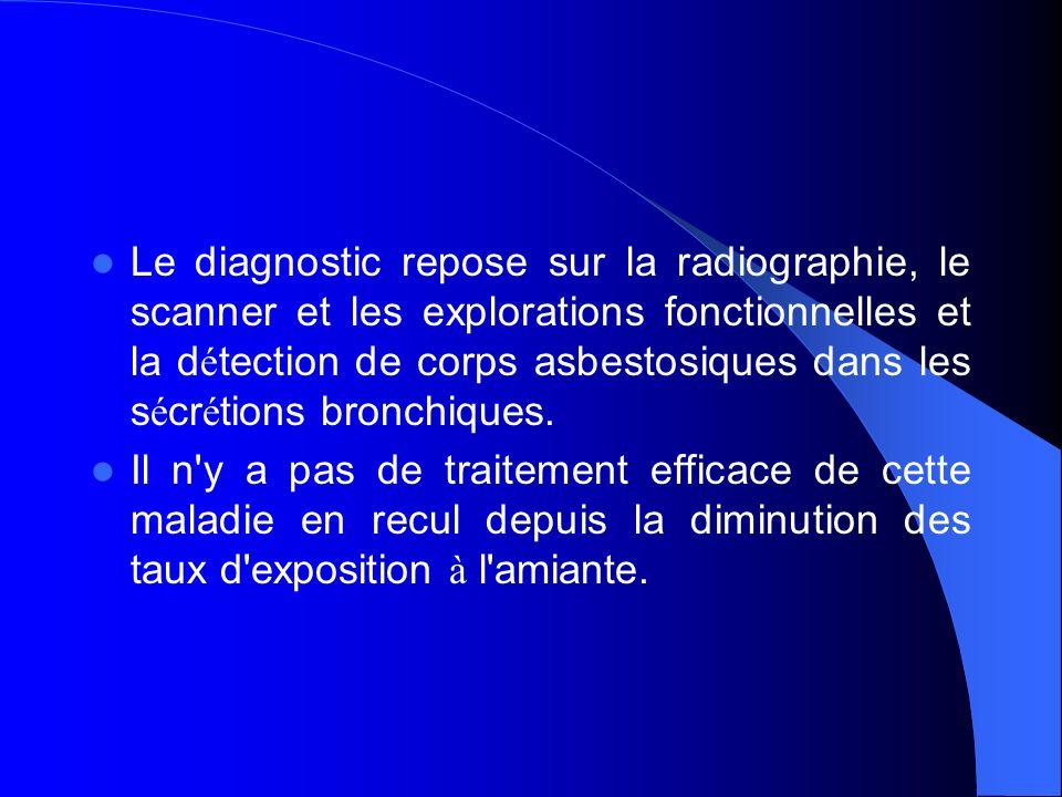 Le diagnostic repose sur la radiographie, le scanner et les explorations fonctionnelles et la détection de corps asbestosiques dans les sécrétions bronchiques.