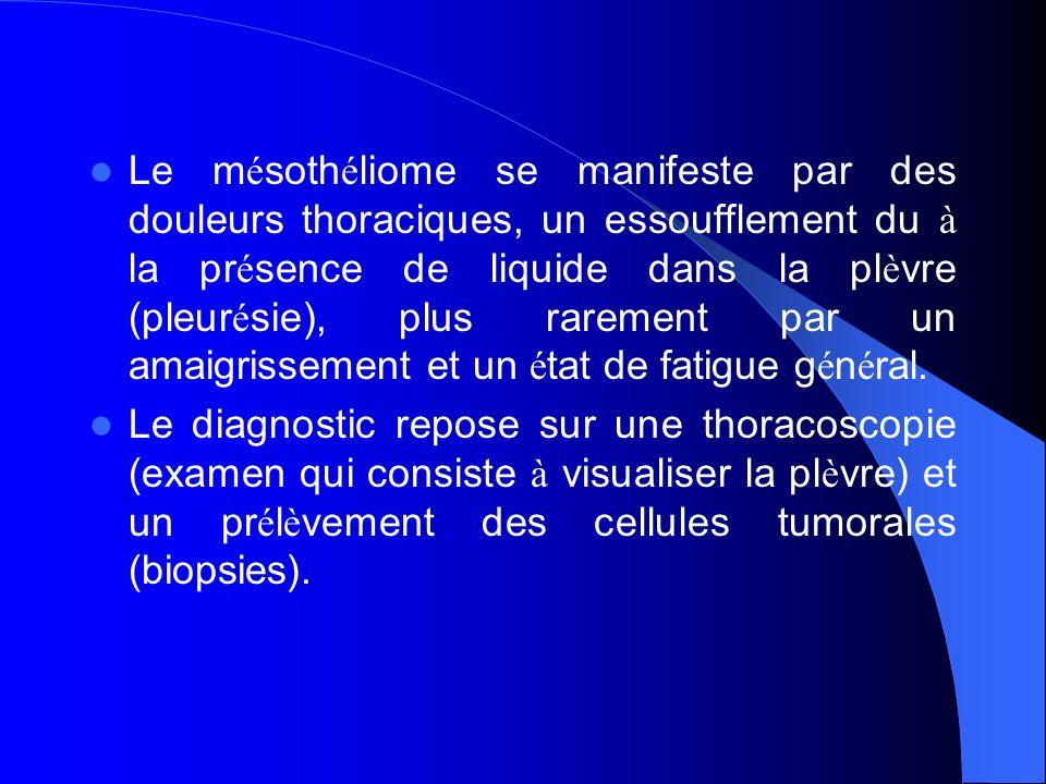 Le mésothéliome se manifeste par des douleurs thoraciques, un essoufflement du à la présence de liquide dans la plèvre (pleurésie), plus rarement par un amaigrissement et un état de fatigue général.