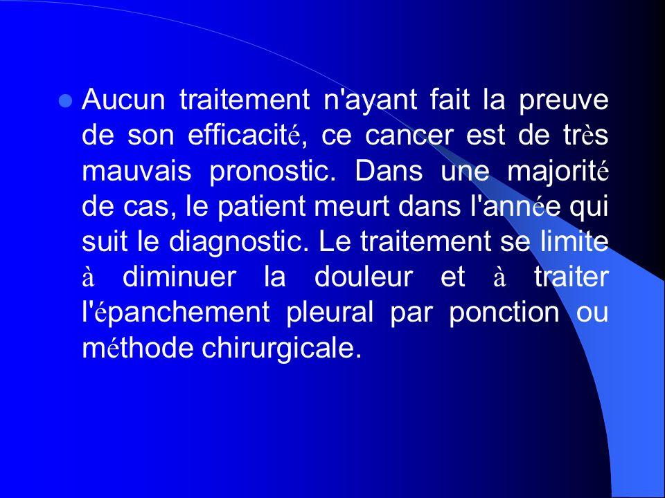 Aucun traitement n ayant fait la preuve de son efficacité, ce cancer est de très mauvais pronostic.