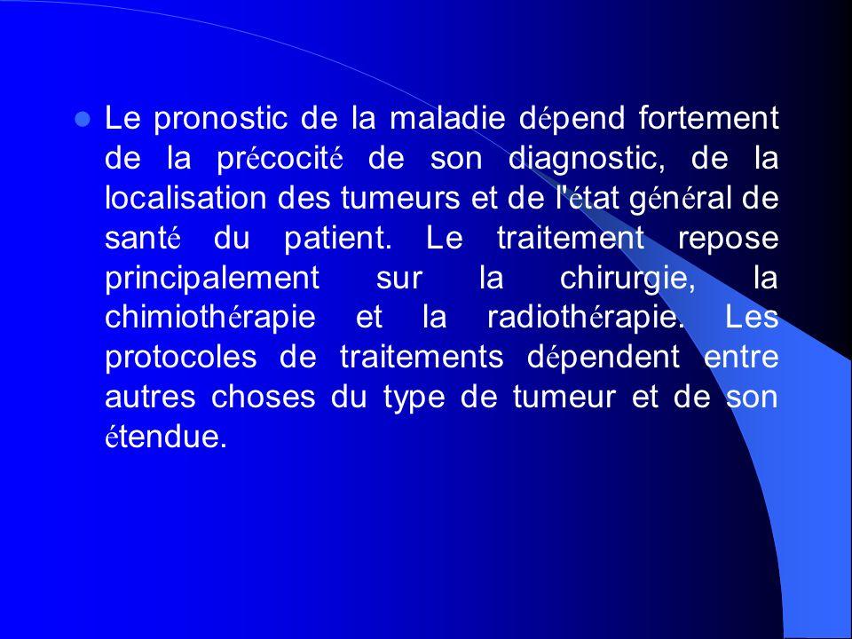 Le pronostic de la maladie dépend fortement de la précocité de son diagnostic, de la localisation des tumeurs et de l état général de santé du patient.