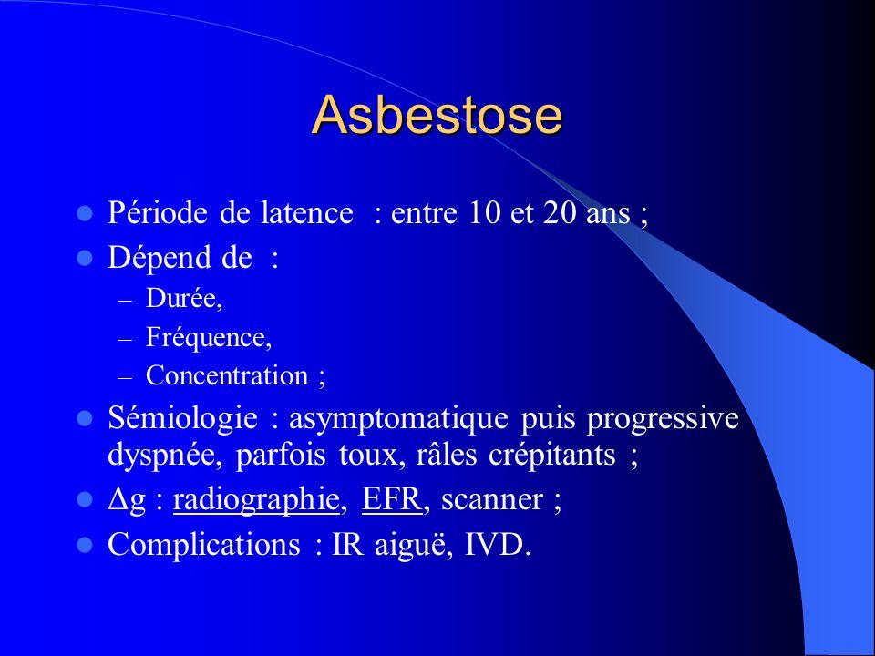 Asbestose Période de latence : entre 10 et 20 ans ; Dépend de :