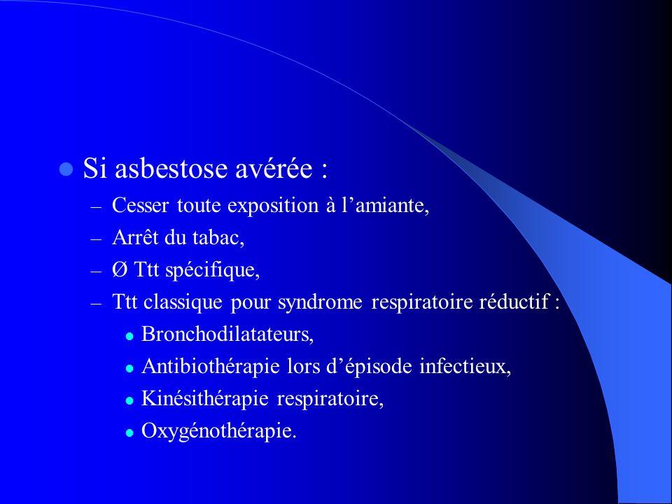 Si asbestose avérée : Cesser toute exposition à l'amiante,