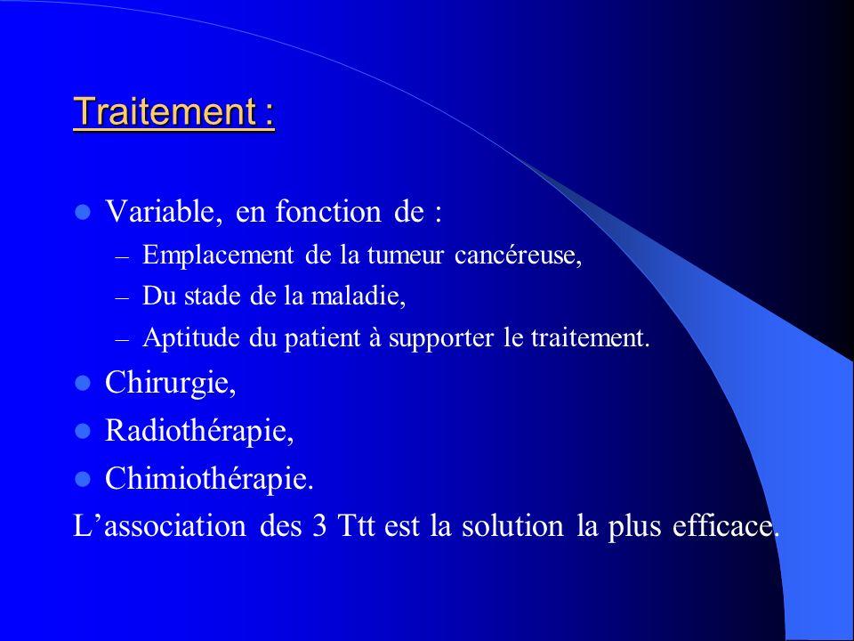 Traitement : Variable, en fonction de : Chirurgie, Radiothérapie,