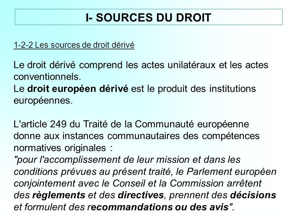 I- SOURCES DU DROIT 1-2-2 Les sources de droit dérivé. Le droit dérivé comprend les actes unilatéraux et les actes conventionnels.