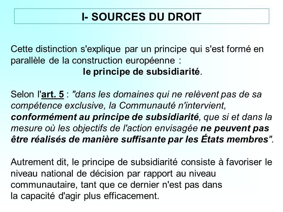 le principe de subsidiarité.