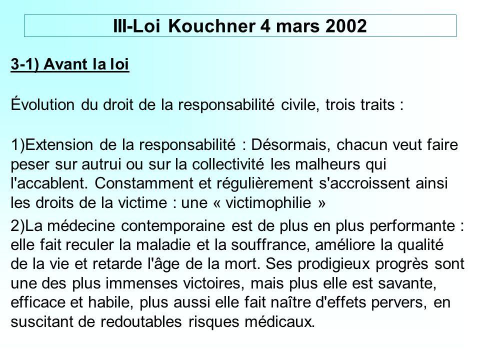 III-Loi Kouchner 4 mars 2002 3-1) Avant la loi