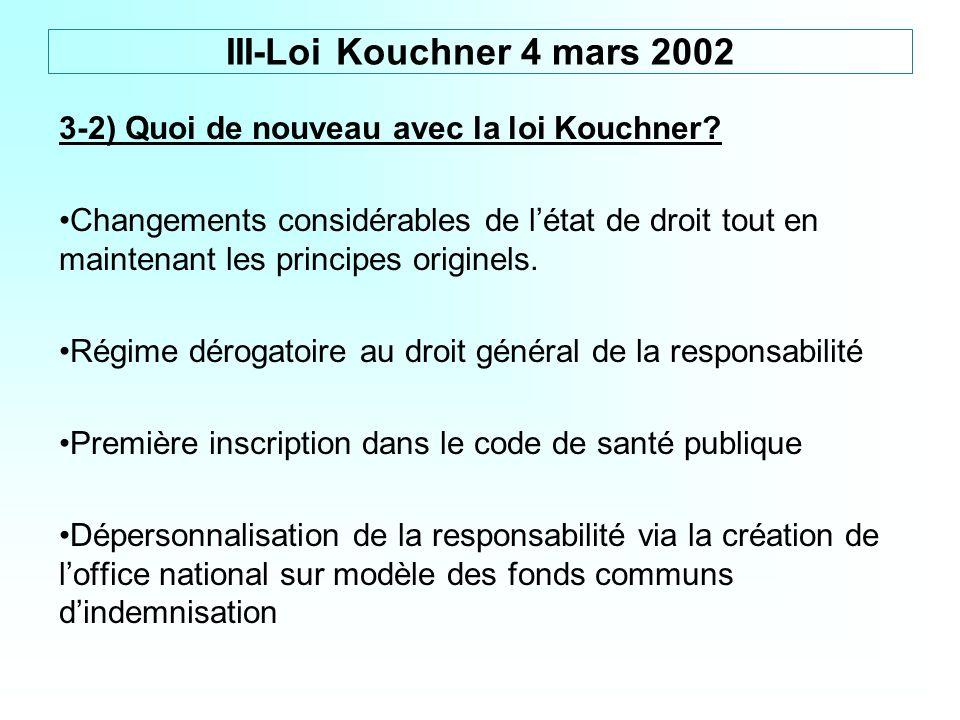 III-Loi Kouchner 4 mars 2002 3-2) Quoi de nouveau avec la loi Kouchner