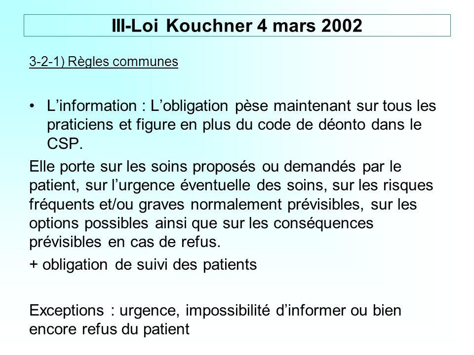 III-Loi Kouchner 4 mars 2002 3-2-1) Règles communes.