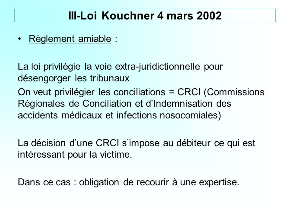 III-Loi Kouchner 4 mars 2002 Règlement amiable :