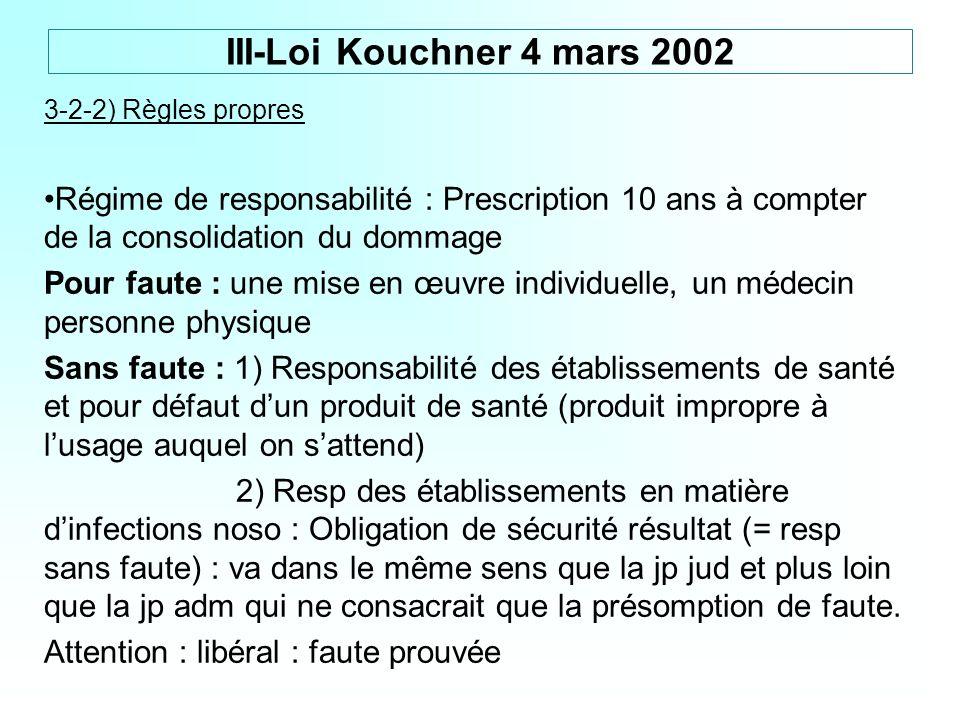 III-Loi Kouchner 4 mars 2002 3-2-2) Règles propres. Régime de responsabilité : Prescription 10 ans à compter de la consolidation du dommage.