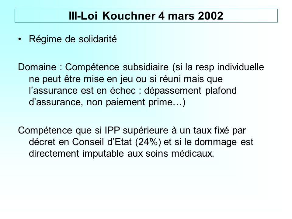 III-Loi Kouchner 4 mars 2002 Régime de solidarité