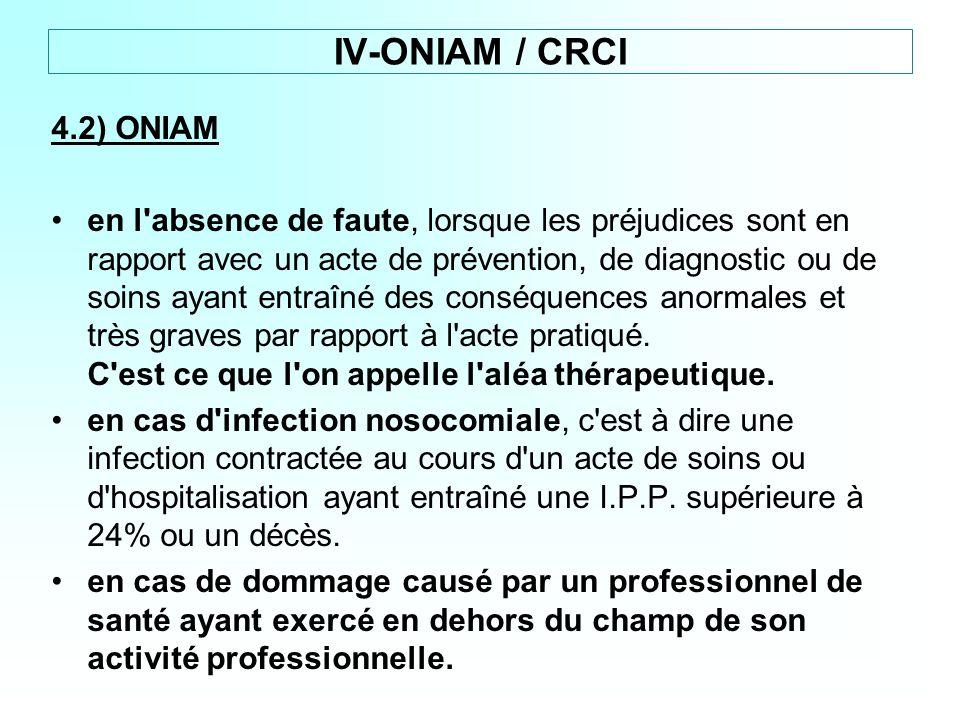 IV-ONIAM / CRCI 4.2) ONIAM.