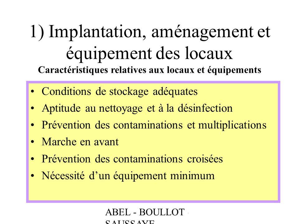 1) Implantation, aménagement et équipement des locaux Caractéristiques relatives aux locaux et équipements