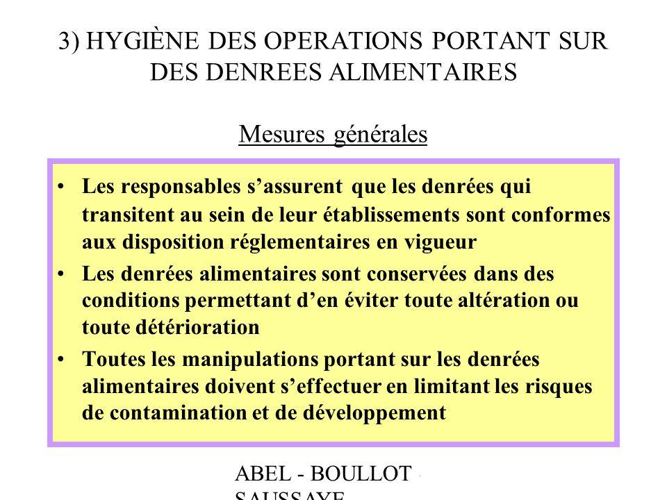 3) HYGIÈNE DES OPERATIONS PORTANT SUR DES DENREES ALIMENTAIRES Mesures générales