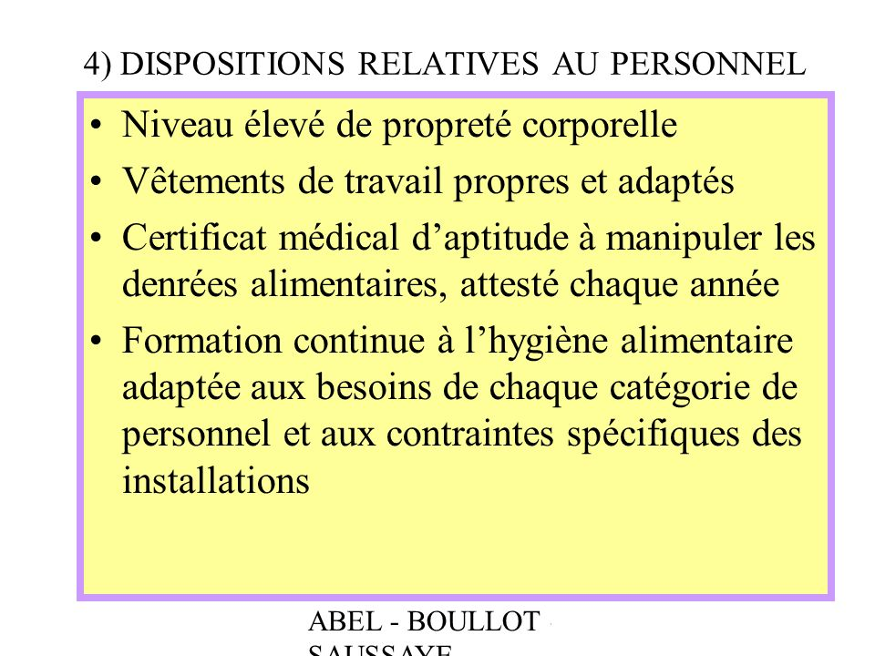 4) DISPOSITIONS RELATIVES AU PERSONNEL