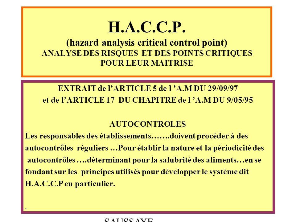 H.A.C.C.P. (hazard analysis critical control point) ANALYSE DES RISQUES ET DES POINTS CRITIQUES POUR LEUR MAITRISE