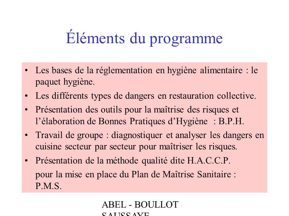 Éléments du programme Les bases de la réglementation en hygiène alimentaire : le paquet hygiène.