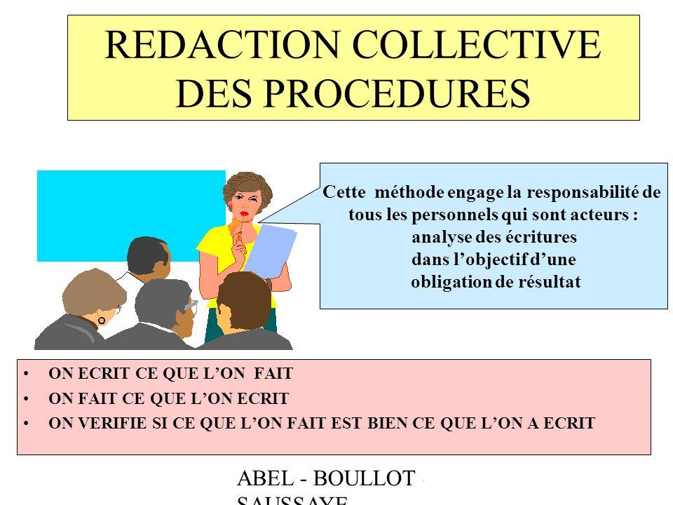 REDACTION COLLECTIVE DES PROCEDURES