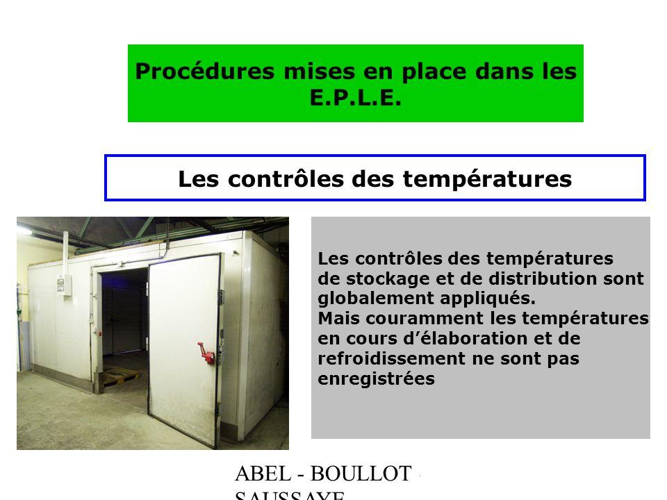 Procédures mises en place dans les Les contrôles des températures