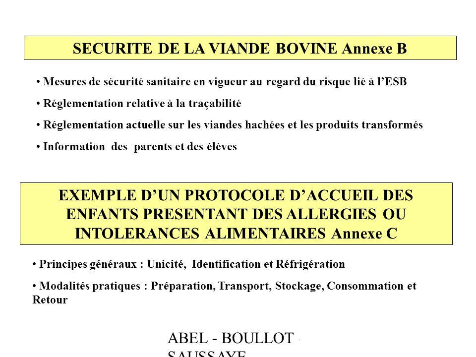 SECURITE DE LA VIANDE BOVINE Annexe B