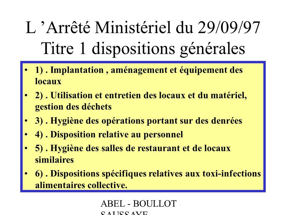 L 'Arrêté Ministériel du 29/09/97 Titre 1 dispositions générales