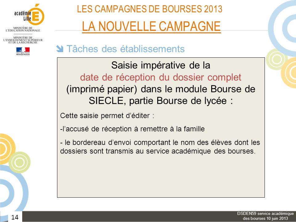 LES CAMPAGNES DE BOURSES 2013 LA NOUVELLE CAMPAGNE