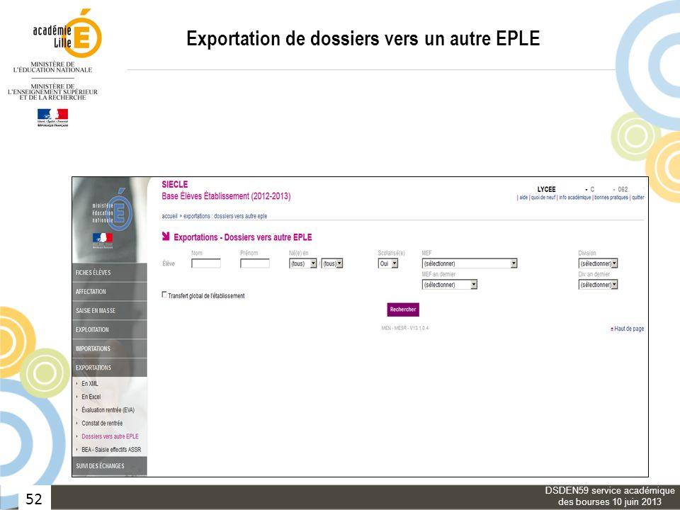 Exportation de dossiers vers un autre EPLE