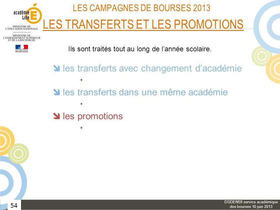 LES CAMPAGNES DE BOURSES 2013 LES TRANSFERTS ET LES PROMOTIONS