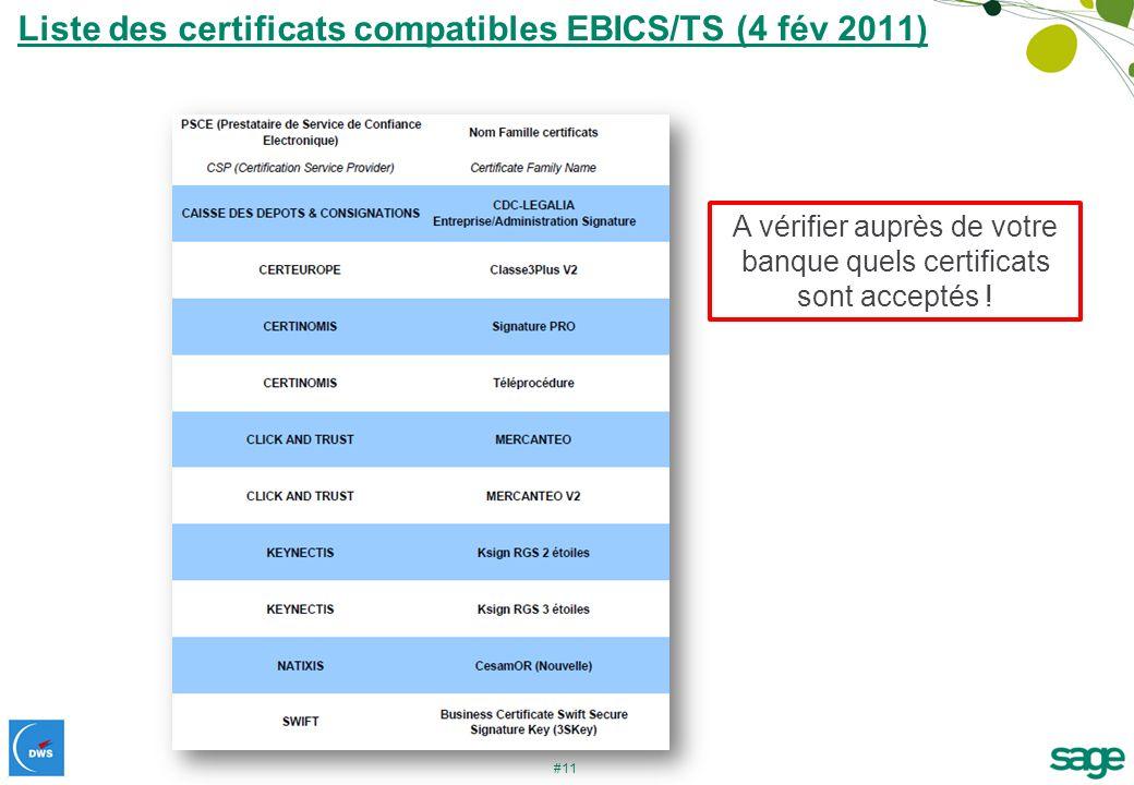 Liste des certificats compatibles EBICS/TS (4 fév 2011)