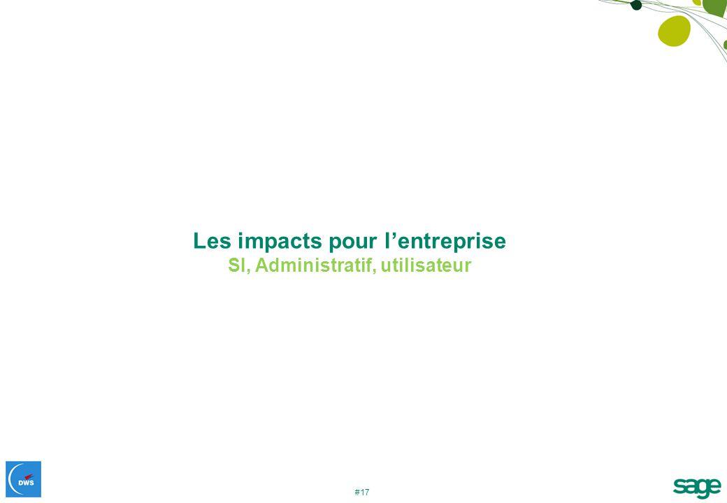 Les impacts pour l'entreprise SI, Administratif, utilisateur
