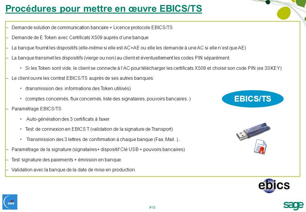 Procédures pour mettre en œuvre EBICS/TS