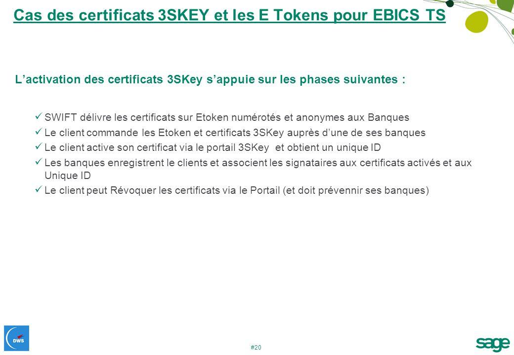 Cas des certificats 3SKEY et les E Tokens pour EBICS TS