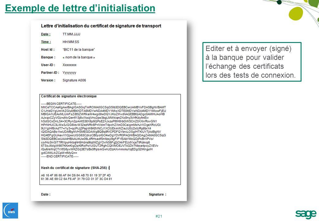 Exemple de lettre d'initialisation