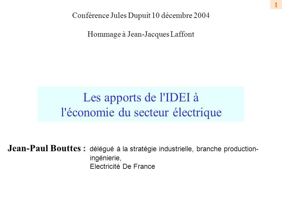 Les apports de l IDEI à l économie du secteur électrique