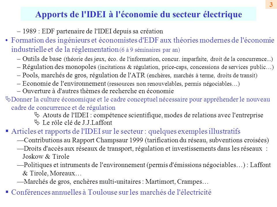 Apports de l IDEI à l économie du secteur électrique