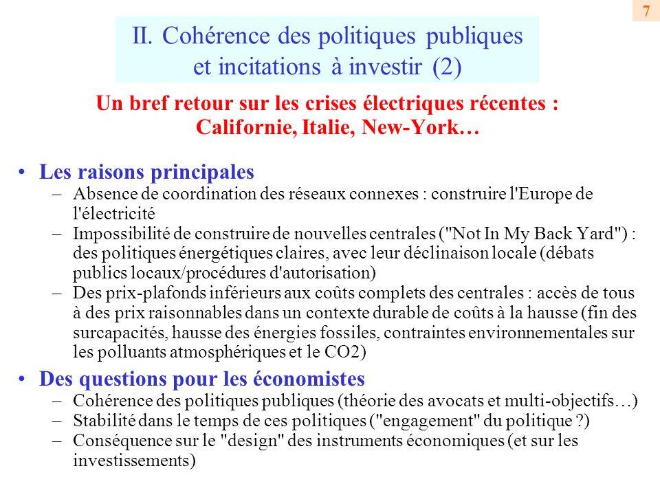 II. Cohérence des politiques publiques et incitations à investir (2)